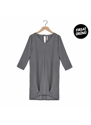 Yargıcı Kadın Biye Detaylı Elbise 7KKEL7191X265 Gri